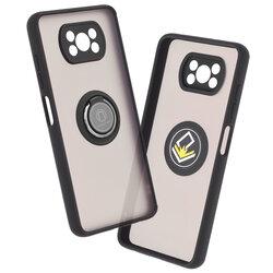Husa Xiaomi Poco X3 NFC Mobster Glinth Cu Inel Suport Stand Magnetic - Negru