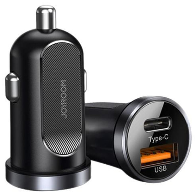 Incarcator auto dual JoyRoom C-A08, USB, Type-C, incarcare rapida, QC 3.0, 30W, negru