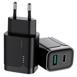 Incarcator priza JoyRoom, USB, Type-C, PD3.0, QC3.0, 18W, negru, L-QP182