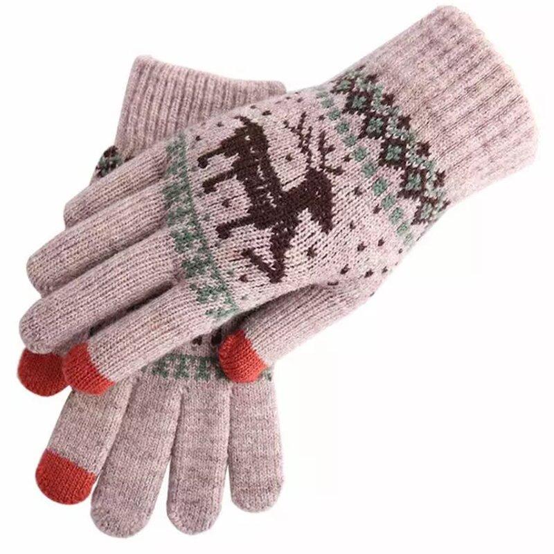 Manusi touchscreen dama Mobster Reindeer, lana, kaki, ST0002