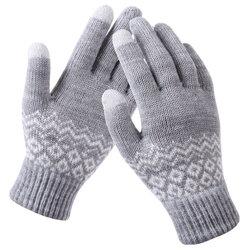 Manusi touchscreen dama Mobster Knitting, lana, gri, ST0003