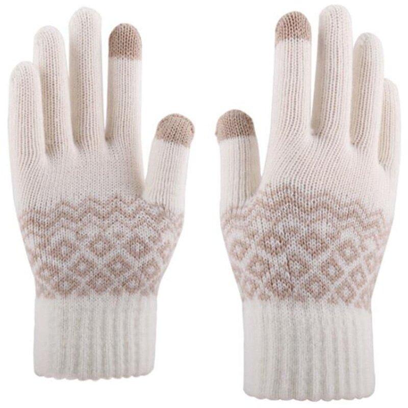 Manusi touchscreen dama Mobster Knitting, lana, alb, ST0003