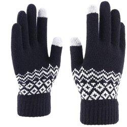 Manusi touchscreen dama Mobster Knitting, lana, negru, ST0003