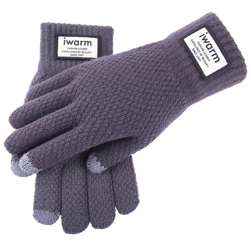 Manusi touchscreen barbati iWarm, lana, gri, ST0007