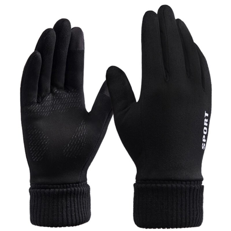 Manusi touchscreen unisex Mobster Suede, piele ecologica, negru, ST0009
