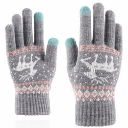 Manusi touchscreen dama Mobster Reindeer, lana, gri, ST0002