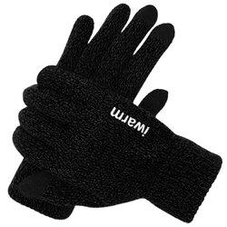 Manusi touchscreen unisex iWarm, lana, negru, ST0005