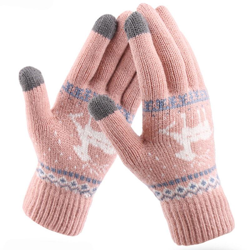 Manusi touchscreen dama Mobster Reindeer, lana, roz deschis, ST0002
