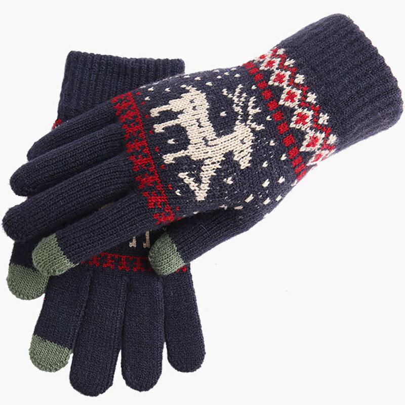 Manusi touchscreen dama Mobster Reindeer, lana, albastru, ST0002