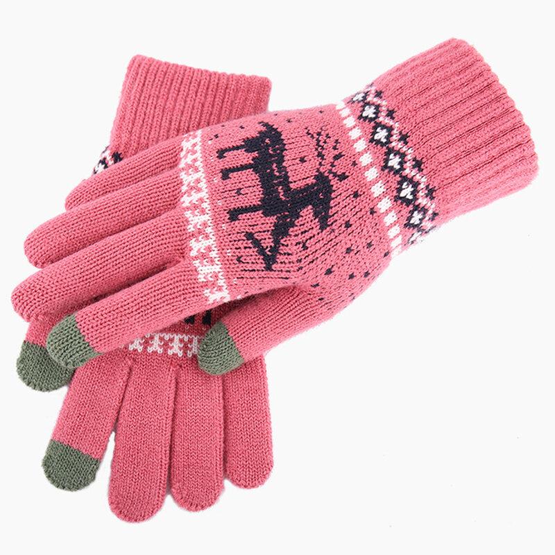 Manusi touchscreen dama Mobster Reindeer, lana, roz inchis, ST0002