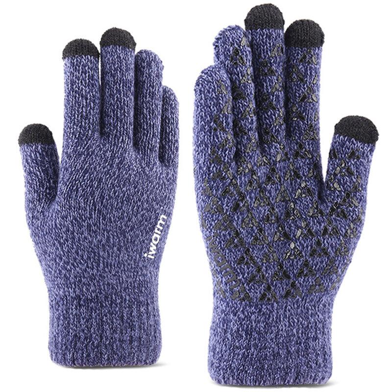 Manusi touchscreen unisex iWarm, lana, albastru, ST0005