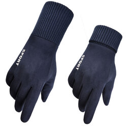 Manusi touchscreen unisex Mobster Suede, piele ecologica, albastru, ST0009