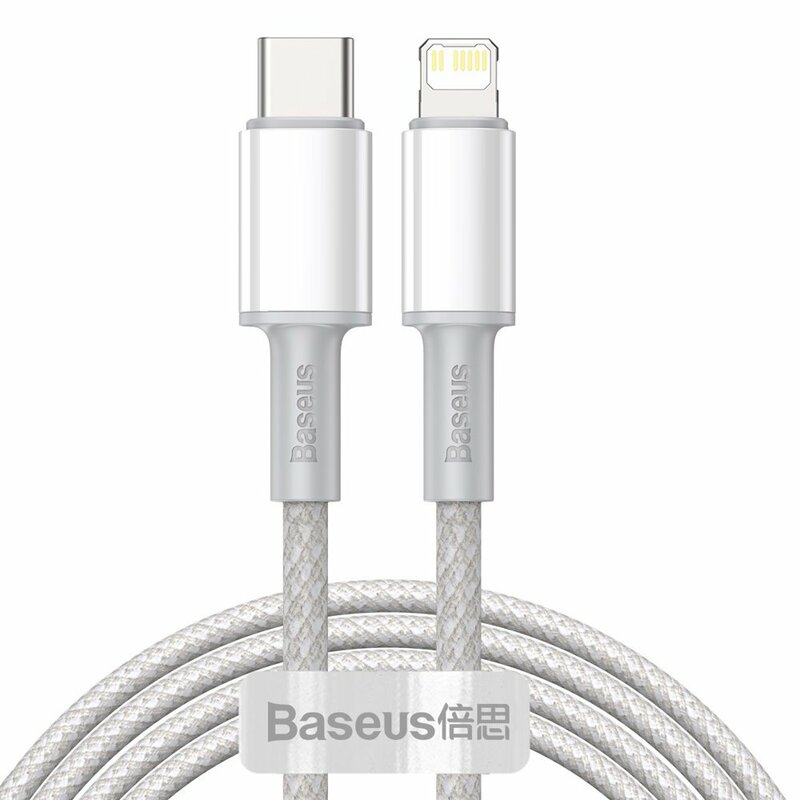 Cablu de date Baseus, Type-C la Lightning, PD 20W, 2m, alb, CATLGD-A02
