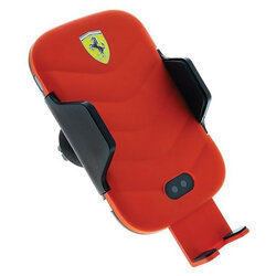 Suport auto Ferrari, incarcare wireless, prindere grila ventilatie, 10W, rosu, FECCWLPDRE