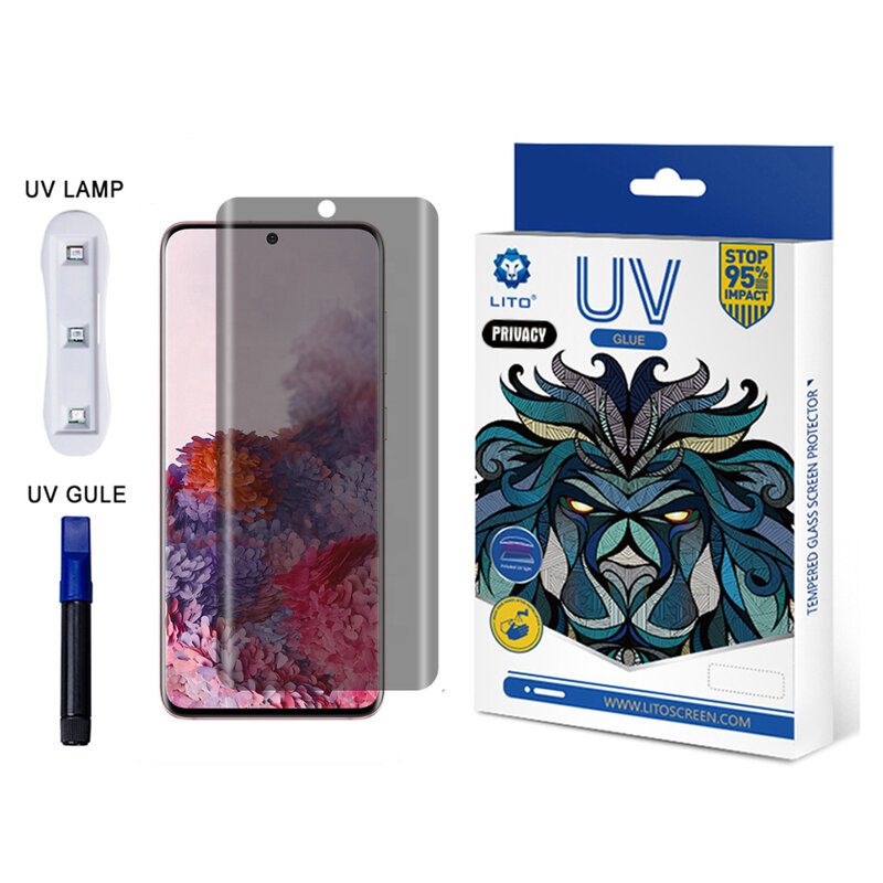 Folie Sticla Samsung Galaxy S20 Ultra 5G Lito UV Glue PRIVACY 9H Cu Lampa Si Adeziv Lichid - Clear