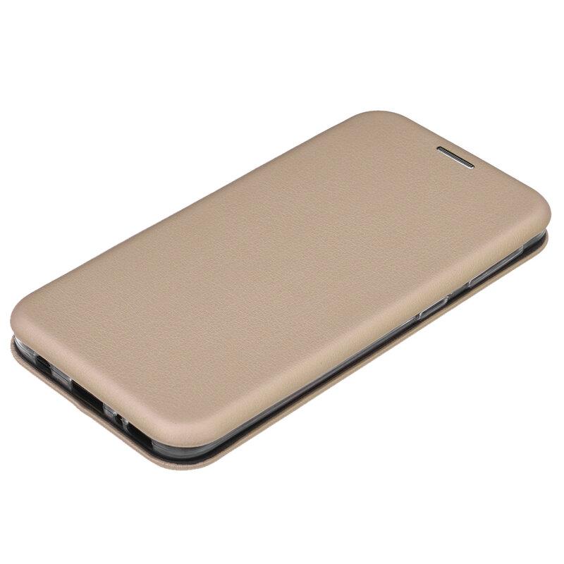 Husa Samsung Galaxy A40 Flip Magnet Book Type - Gold