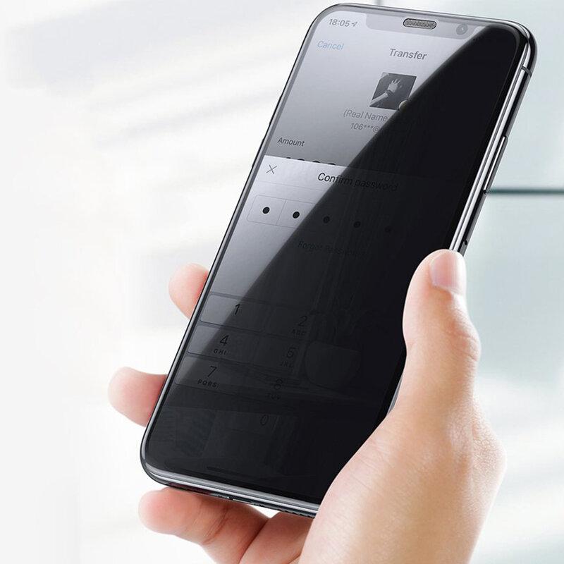 Folie sticla iPhone XS USAMS Anti-Spy Tempered Glass 9H, negru