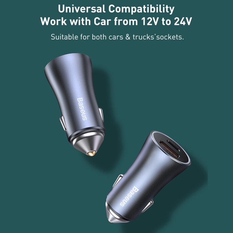 Incarcator auto Baseus, USB QC 20W, Type-C PD 20W, aluminiu, 40W, gri, CCJD-0G
