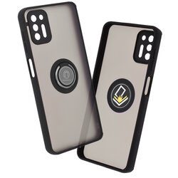 Husa Motorola Moto G9 Plus Mobster Glinth Cu Inel Suport Stand Magnetic - Negru