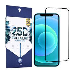 Folie Sticla iPhone 12 Pro Lito 2.5D Full Glue Full Cover Cu Rama - Negru