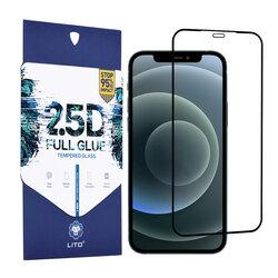 Folie Sticla iPhone 12 Pro Max Lito 2.5D Full Glue Full Cover Cu Rama - Negru