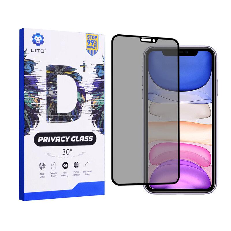 Folie Sticla iPhone 11 Lito Privacy Cu Rama - Negru