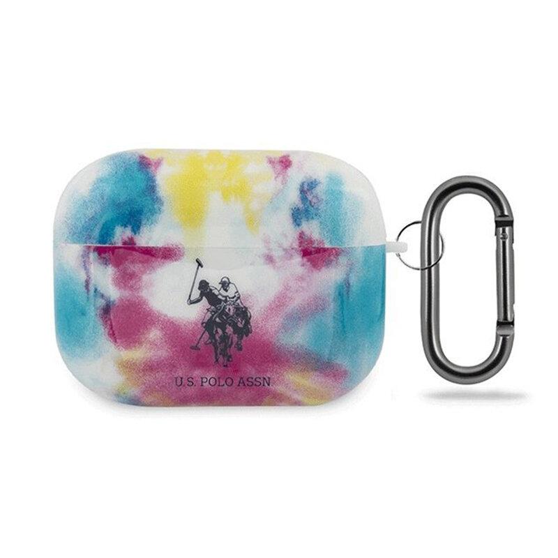 Husa Apple Airpods Pro U.S. Polo Assn. Tie & Dye, holder metalic de prindere, multicolor