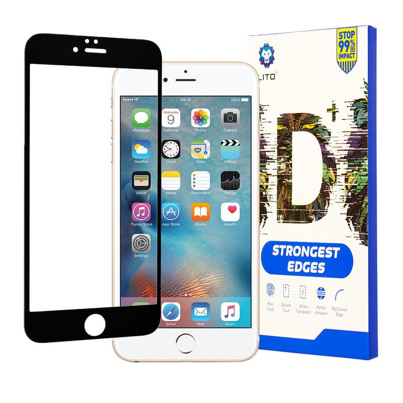 Folie Sticla iPhone 6 / 6S Lito Strongest Edges Cu Rama - Negru