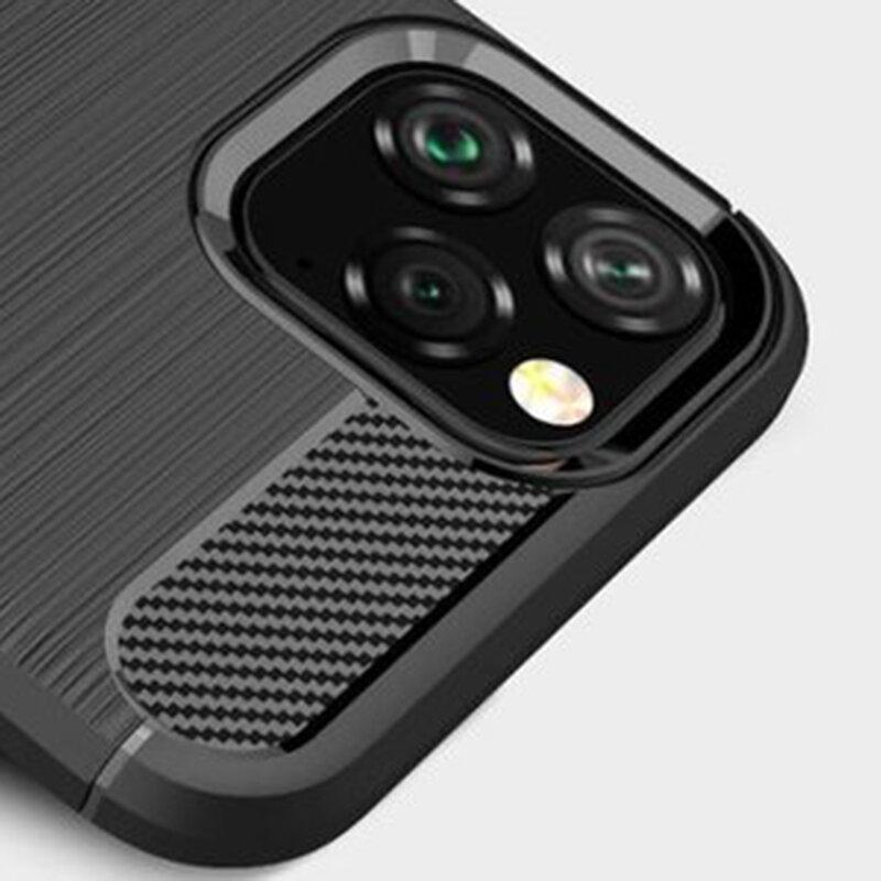 Husa iPhone 11 TPU Carbon Cu Decupaj Pentru Sigla, Negru