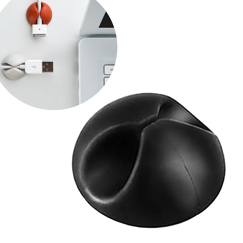 Organizator cabluri Mobster, suport birou universal cu adeziv, negru