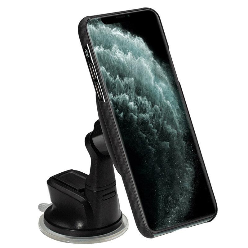 Suport auto Pitaka MagEZ, incarcator wireless iPhone 12 din Kevlar, negru