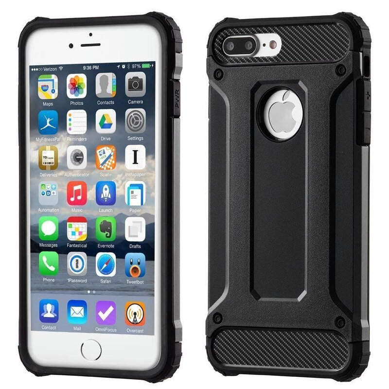Husa iPhone 8 Plus Mobster Hybrid Armor Cu Decupaj Pentru Sigla - Negru