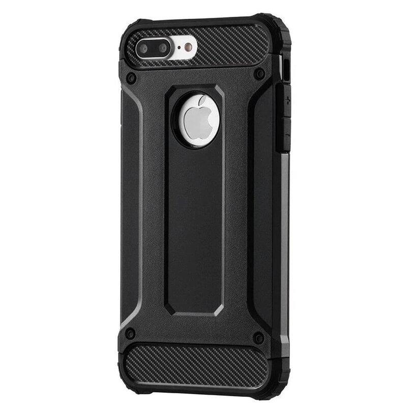 Husa iPhone 7 Plus Mobster Hybrid Armor Cu Decupaj Pentru Sigla - Negru