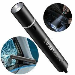 Ciocan urgenta parbriz auto Baseus, lanterna, aluminiu, negru, CRSFH-B01