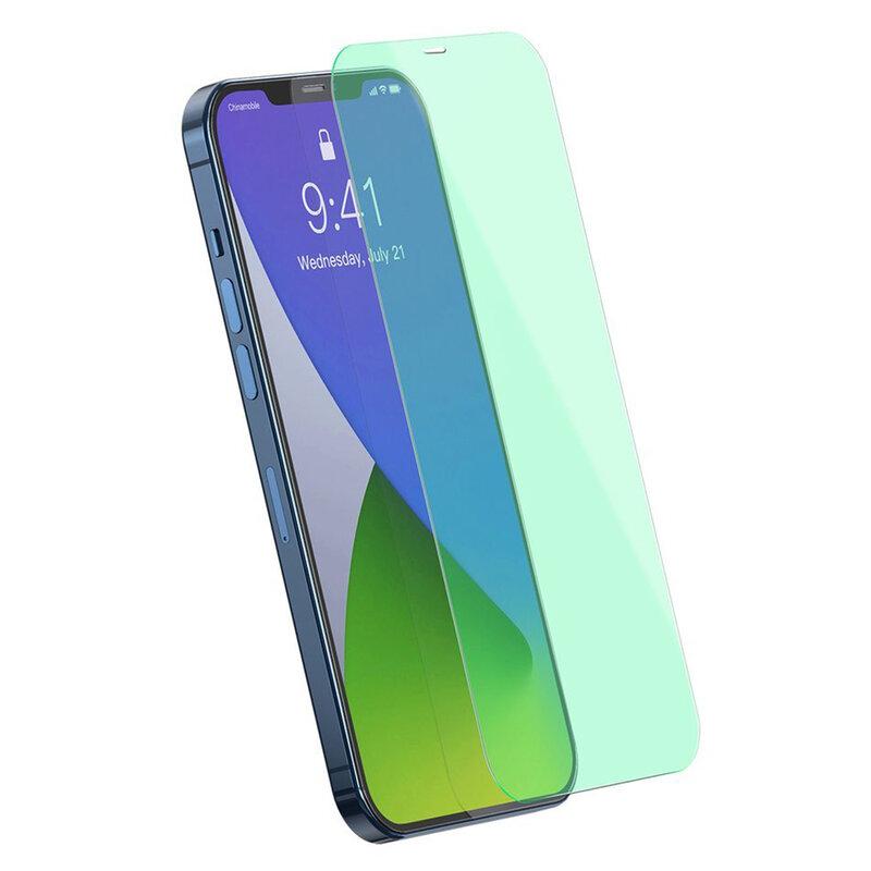 [Pachet 2x] Folie iPhone 12 Pro Max Baseus Green Light, Clear, SGAPIPH67N-LP02