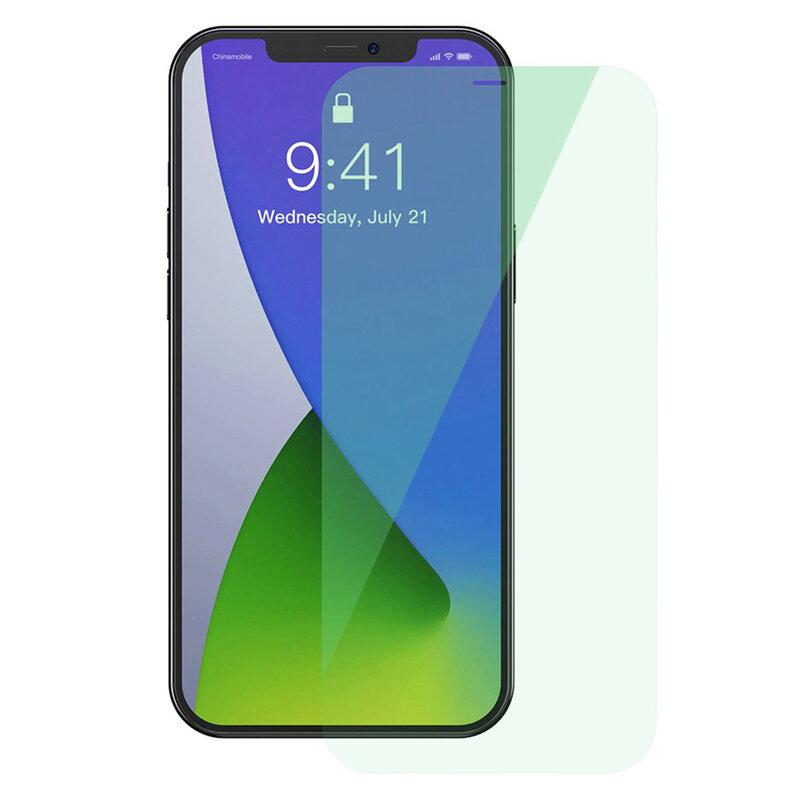 [Pachet 2x] Folie iPhone 12 mini Baseus Green Light, Clear, SGAPIPH54N-LQ02