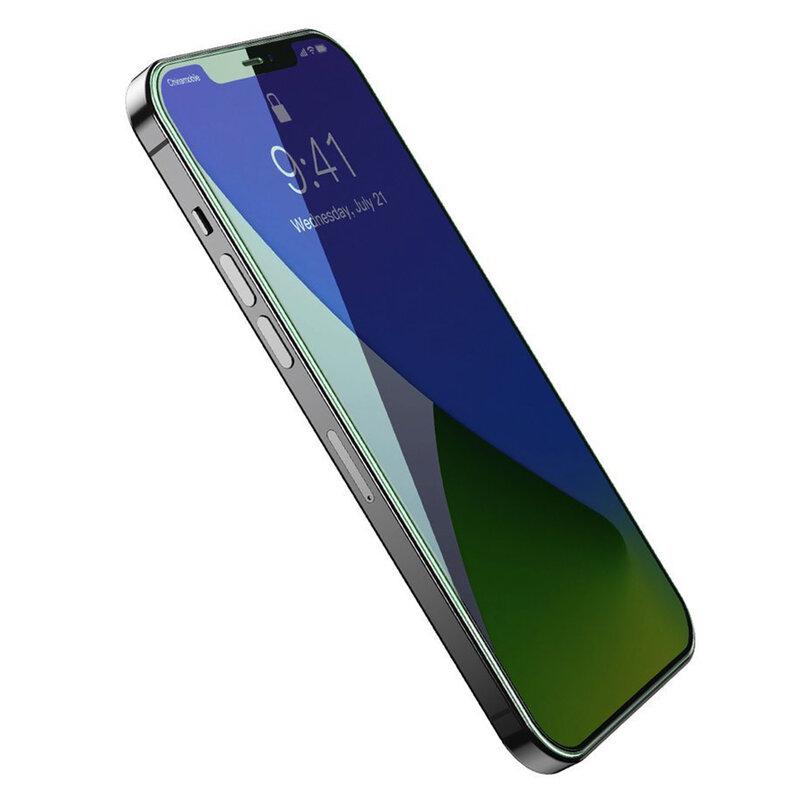 [Pachet 2x] Folie iPhone 12 Pro Max Baseus Green Light, Clear, SGAPIPH67N-LQ02