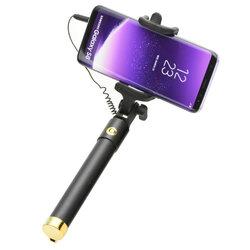 Suport Selfie Stick Blun, Jack 3.5mm, extensibil pana la 75cm, auriu