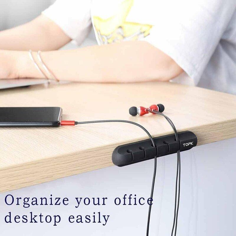 Organizator Cabluri TOPK, Suport Universal Cu Adeziv, 5 Clips-uri, Roz