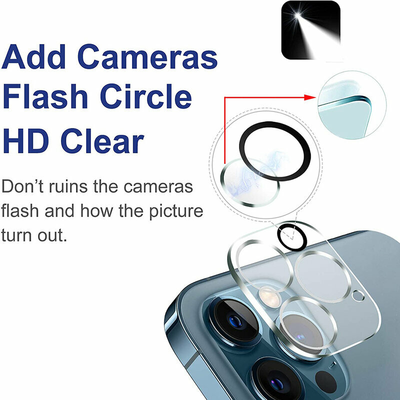 Folie Sticla iPhone 12 Pro Bluestar Camera Lens Glass Full Cover - Clear