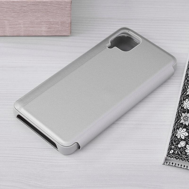 Husa Samsung Galaxy A12 Flip Standing Cover - Argintiu