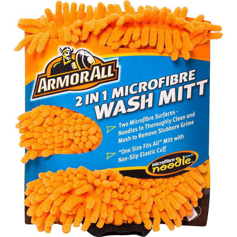 Laveta microfibra Armor All tip manusa cu doua suprafete spalare auto, portocaliu