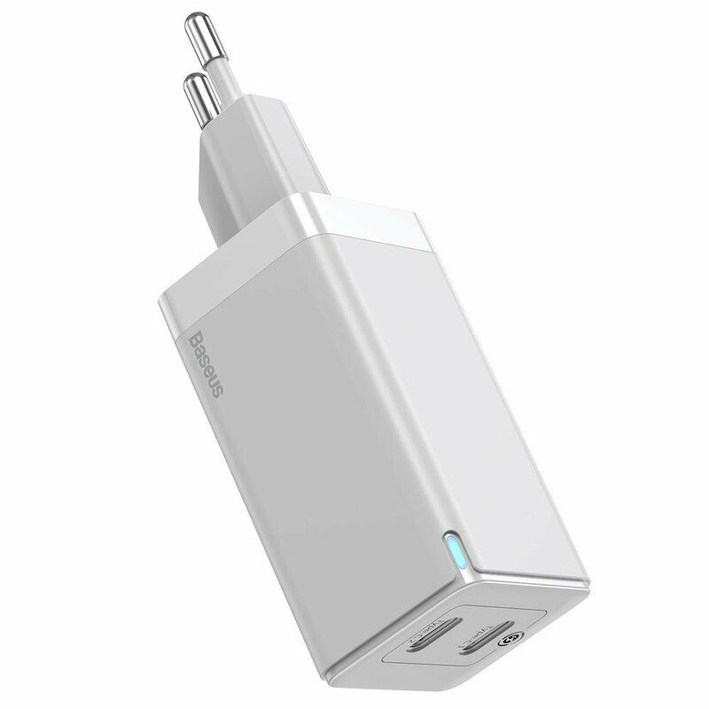 Incarcator priza Baseus 2x Type-C, cablu Type-C 1m, 45W, alb, CCGAN-M02