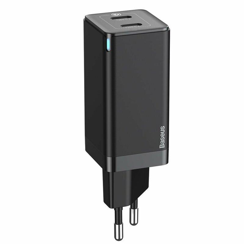 Incarcator priza Baseus 2x Type-C, cablu Type-C 1m, 45W, negru, CCGAN-M01