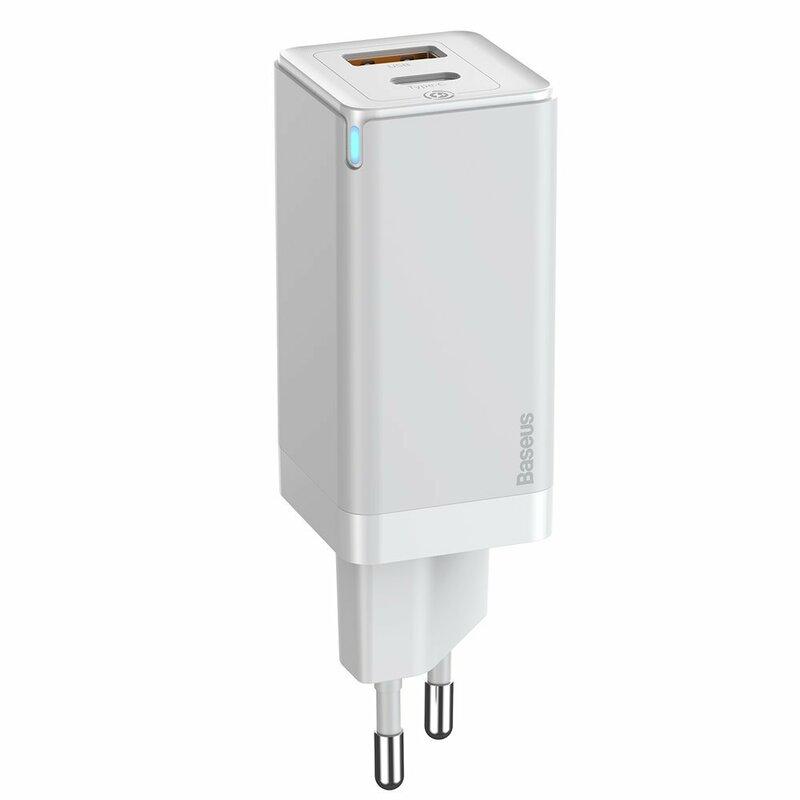 Incarcator priza Baseus USB, Type-C, cablu Type-C 1m, 45W, alb, CCGAN-Q02