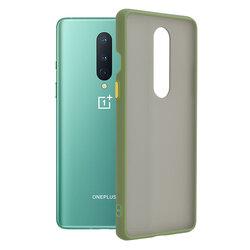 Husa OnePlus 8 Mobster Chroma Cu Butoane Si Margini Colorate - Verde Deschis
