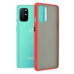 Husa OnePlus 8T Mobster Chroma Cu Butoane Si Margini Colorate - Rosu