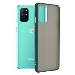Husa OnePlus 8T Mobster Chroma Cu Butoane Si Margini Colorate - Verde Inchis