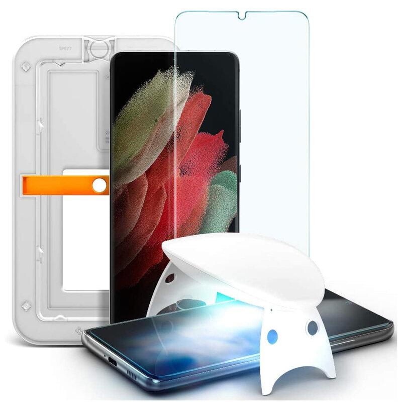 Folie Sticla Samsung Galaxy S21 Ultra 5G Spigen GLAS.tR Platinum UV Light - Clear