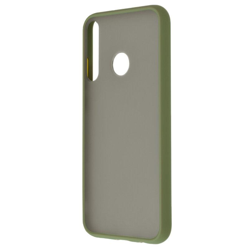 Husa Huawei P40 Lite E Mobster Chroma Cu Butoane Si Margini Colorate - Verde Deschis